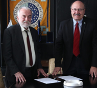 Nichi d'Amico, on the left, with Rafael Rebolo of IAC for the ASTRI Mini-Array construction in Tenerife.